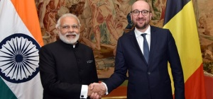 Prime Minister Narendra Modi meets Charles Michel, Prime Minister of Belgium in Brussels during his visit to Belgium