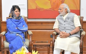 PDP leader Mehbooba Mufti meeting Prime Minister Narendra Modi in New Delhi on March 22, 2016.