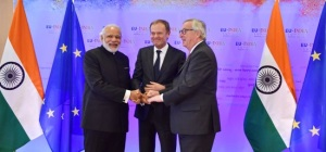 Prime Minister meets Donald Tusk, the President of the European Council and Jean-Claude Juncker, the President of the European Commission at the 13th India-EU Summit in Brussels. Photo Courtesy: M.Asokan