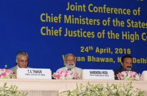 Prime Minister Narendra Modi at the inauguration of the Joint Conference of CMs & Chief Justices of HCs, in New Delhi on April 24, 2016. The Union Minister for Law & Justice, D.V. Sadananda Gowda and the Chief Justice of India Justice T.S. Thakur are also seen.