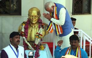 PM Modi offering tributes to Dr. Ambedkar at Mhow