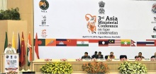 Prime Minister Narendra Modi delivering the inaugural address, at the 3rd Asia Ministerial Conference on Tiger Conservation, in New Delhi on April 12, 2016. The Minister of State for Environment, Forest and Climate Change (Independent Charge)Prakas h Javadekar, Secretary, Ministry of Environment, Forest and Climate Change Ashok Lavasa are also seen