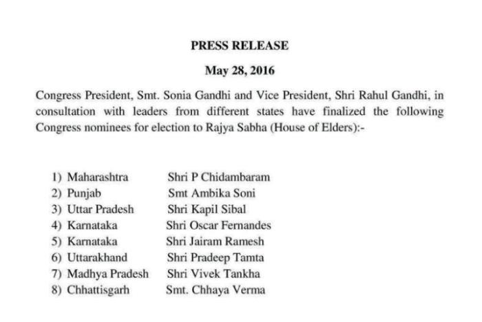 Congress candidates for Rajya Sabha
