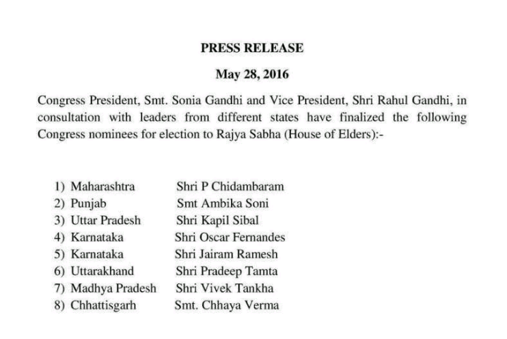 Congress candidates for Rajya Sabha