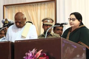 J Jayalalithaa was sworn-in as Chief Minister of Tamil Nadu today