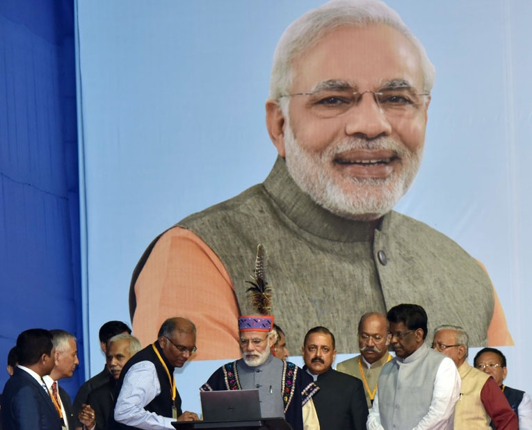 Narendra Modi at the public meeting in Shillong on May 27, 2016