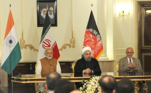 Prime Minister Narendra Modi with President of Iran Hassan Rouhani and the President of Afghanistan Dr. Mohammad Ashraf Ghani, witnessing the signing of Trilateral Agreement between India, Afghanistan and Iran, in Tehran on May 23, 2016.