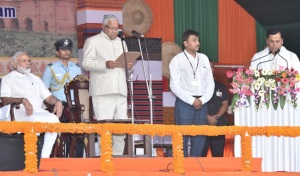 Prime Minister Narendra Modi at the Swearing-in Ceremony of the New Government of Assam, in Guwahati on May 24, 2016. Governor of Assam, Nagaland & Tripura P.B. Acharya administered the oath.
