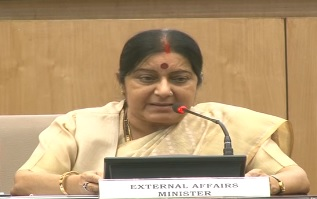 External Affairs Minister Sushma Swaraj Addressing media persons in New Delhi on 19 June 2016