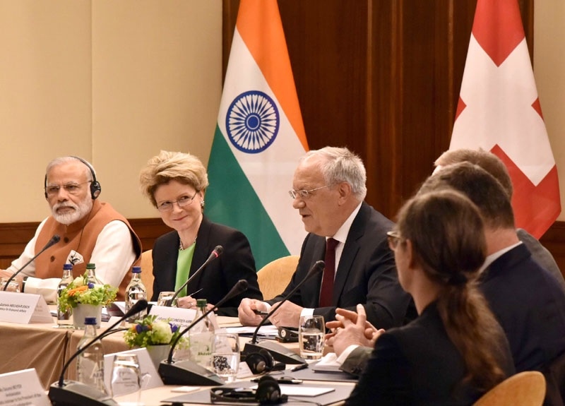 The Prime Minister, Shri Narendra Modi and the President of the Swiss Confederation, Mr. Johann Schneider-Ammann at a roundtable meeting with the Swiss business leaders, in Geneva on June 06, 2016.