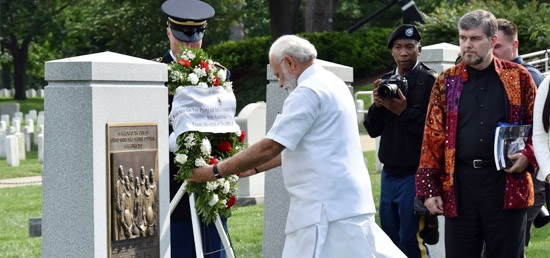 Prime Minister Narenda Modi laid a wreath at the Tomb of the Unknown Soldier, at the Arlington Cemetery.