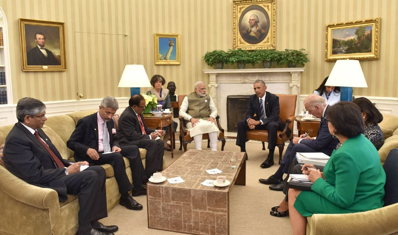Prime Minister of India Narendra Modi meeting President of the US Barack Obama in the White House Oval office on June 7
