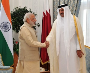 Prime Minister Narendra Modi with His Highness Sheikh Tamim Bin Hamad Al-Thani, Emir of the State of Qatar