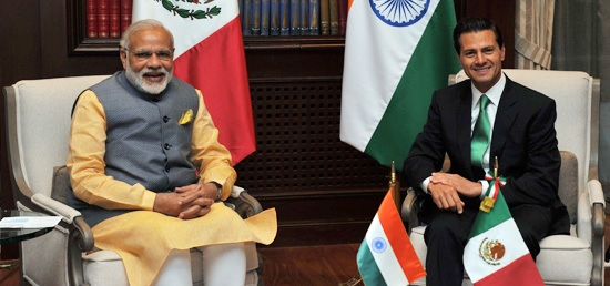 Prime Minister of India Narendra Modi meets President of Mexico Enrique Peña Nieto