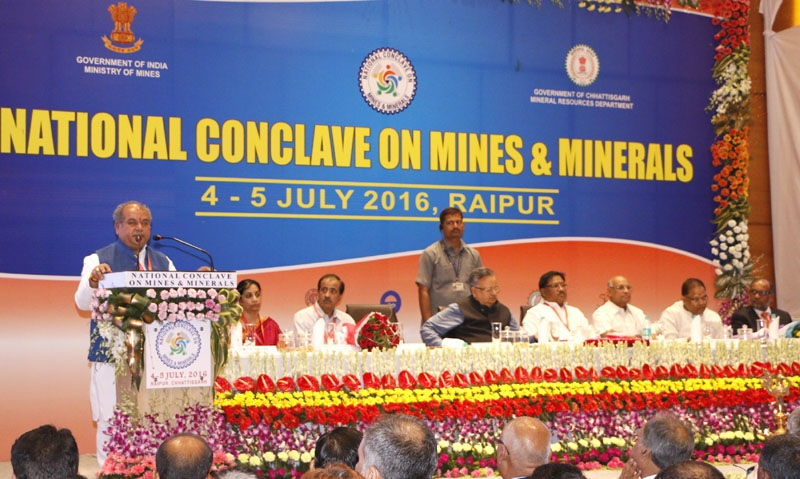 Union Minister for Mines and Steel, Narendra Singh Tomar addressing at the inauguration of the National Conclave on Mines and Minerals, in Raipur, Chhattisgarh on July 04, 2016. Chief Minister of Chhattisgarh, Dr. Raman Singh, the Minister of State for Mines and Steel  Vishnu Deo Sai, Secretary, Ministry of Mines Balvinder Kumar and other dignitaries are also seen.