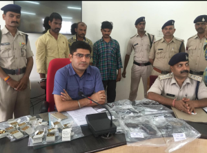 Bhind SP Navneet Bhasin with illegal arms and ammunition seized from arms smugglers