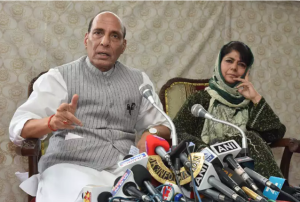 Union Home Minister, Rajnath Singh and the Chief Minister of Jammu and Kashmir, Mehbooba Mufti addressing a press conference, in Srinagar on August 25, 2016.