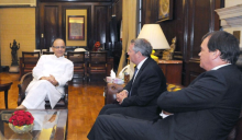 UK Secretary of State for International Trade, Dr. Liam Fox meeting India's Minister for Finance and Corporate Affairs, Arun Jaitley, in New Delhi on August 29, 2016.