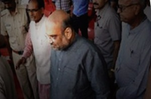 BJP President Amit Shah was received at the airport by chief minister Shivraj Singh Chouhan