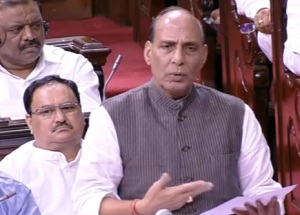 Home Minister Rajnath Singh moving the resolution on Kashmir in Rajya Sabha