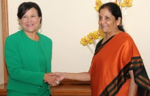 United States Secretary of Commerce, Penny Pritzker meeting the Minister of State for Commerce & Industry (Independent Charge), Nirmala Sitharaman, in New Delhi on August 30, 2016.