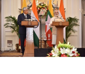 Prime Minister Narendra Modi delivering his statement to media in the joint press briefing with President of Myanmar Htin Kyaw, at Hyderabad House, in New Delhi on August 29, 2016.
