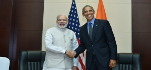 Prime Minister Narendra Modi meets Barack Obama, President of the United States of America in Vientiane on the sidelines of the 11th East Asia Summit