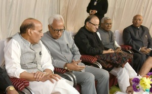 Governor of Jammu and Kashmir N.N. Vohra briefing the All Party Delegation, led by the Union Home Minister Rajnath Singh, in Srinagar, Jammu & Kashmir on September 4 2016. Union Minister for Finance and Corporate Affairs Arun Jaitley is also seen.