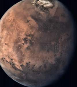 This is a snapshot of  mars full disc captured from a distance of 55000 km.  North Pole is clearly seen in this shot. This High Dynamic Range (HDR) image was generated out of multiple shots of same view  bringing dark to bright feature details  in a better way.