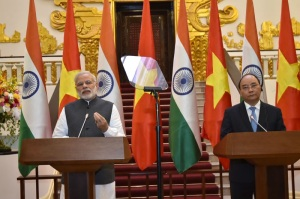 Prime Minister Narendra Modi and the Prime Minister of the Socialist Republic of Vietnam Nguyen Xuan Phuc at the joint media briefing, in Hanoi, Vietnam on September 03, 2016.