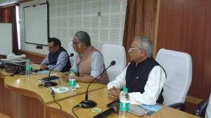 Panelists who addressed the officers of All India Services (R toL) Lalit Shastri, Editor-in Chief Newsroom24x7 and formerly the State Correspondent for The Hindu, Anshuman Tiwari, Editor-Hindi India Today and Girish Nikam, Cosultant Rajya Sabha Television