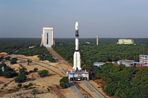 Panoramic View of GSLV-F05 being moved from VAB towards Launch Pad.