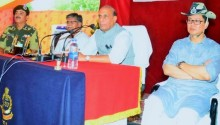 Union Home Minister Rajnath Singh addressing the BSF jawans & officers, during his visit to the BSF Munabao Border Outpost (BOP), in Barmer, Rajasthan on October 08, 2016. Minister of State for Home Affairs Kiren Rijiju, Home Minister of Rajasthan Gulab Chand Kataria and Director General BSF K.K. Sharma are also seen.