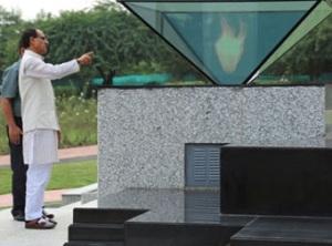 Madhya Pradesh Chief Minister Shivraj Singh Chouhan inspecting the Shaurya Smarak