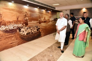 Prime Minister Narendra Modi inaugurated Pravasi Bhartiya Kendra in New Delhi today. Union Minister for External Affairs Sushma Swaraj and the Ministers of State for External Affairs, General (Retd.) V.K. Singh and M.J. Akbar are also seen.