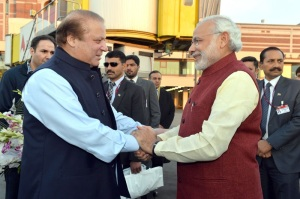 Prime Minister Narendra Modi was received by Prime Minister of Pakistan Nawaz Sharif at Lahore on 25 December 2015