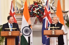 Prime Minister of India Narendra Modi and Prime Minister of New Zealand John Key at the Joint Press Statement at Hyderabad House in New Delhi on 26 October 2016.