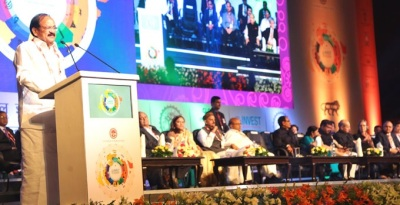 Union Minister Venkaiah Naidu addressing the Global Investors Summit at Indore Today 23 October 2016.