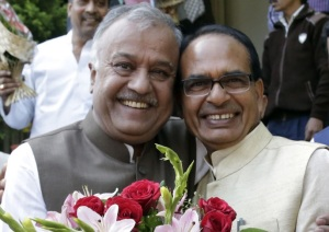 Madhya Pradesh Chief Minister Shivraj Singh Chouhan was greeted by State BJP chief Nandkumar Chouhan on compelting 11 eleven years in office