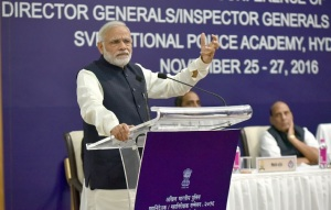 Prime Minister Narendra Modi addressing Police chiefs at National Police Academy, Hyderabad