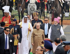 President Pranab Mukherjee and Prime Minister Narendra Modi with the Chief Guest of the Republic Day, The Crown Prince of Abu Dhabi, Deputy Supreme Commander of U.A.E. Armed Forces, General Sheikh Mohammed Bin Zayed Al Nahyan, at Rajpath, on the occasion of the 68th Republic Day Parade 2017, in New Delhi on January 26, 2017.