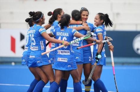 Indian team celebrates scoring goal