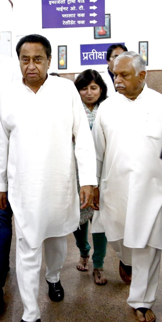 Madhya Pradesh Chief Minister Kamal Nath at Hamidia Hospital. With him are former Union Minister Suresh Pachouri and State Health Minister Vijay Laxmi Sadho