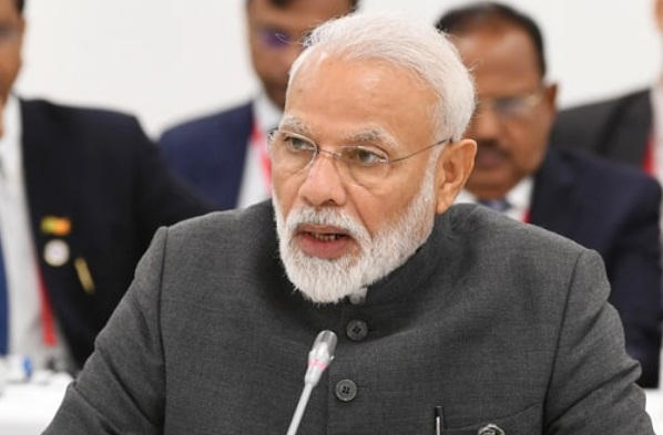 Prime Minister Narendra Modi makes an intervention during Informal BRICS Leaders Meeting on the sidelines of G20 Summit 2019 in Osaka, Japan