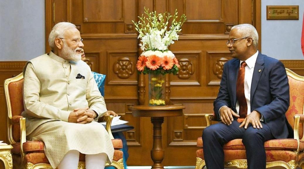 Prime Minister of India Narendra Modi meeting the President of Maldives Ibrahim Mohamed Solih in Male Maldives