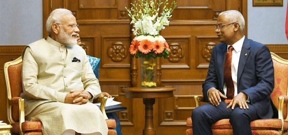 Prime Minister of India Narendra Modi meeting the President of Maldives Ibrahim Mohamed Solih in Male Maldives