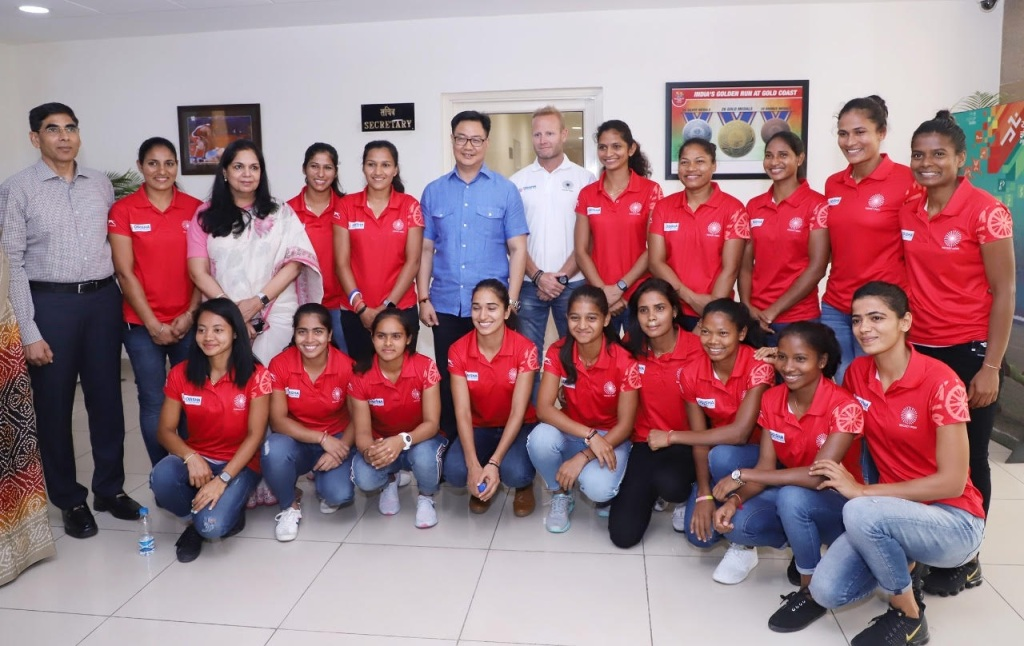 Union Sports Minister Kiren Rijiju with Women's Hockey Team