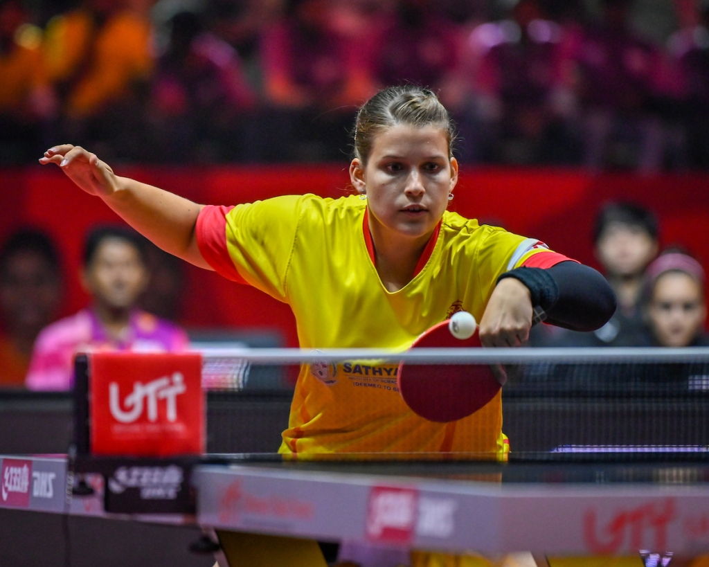 PETRISSA SOLJA of Team Chennai Lions during the match of the Ultimate Table Tennis League played between Team Team Chennai Lions and Team RP-SG Mavericks Kolkata at Thayagaraj Stadium in New Delhi, India on August 06, 2019.  Photo : Vaqaas Mansuri / Focus Sports / Ultimate Table Tennis