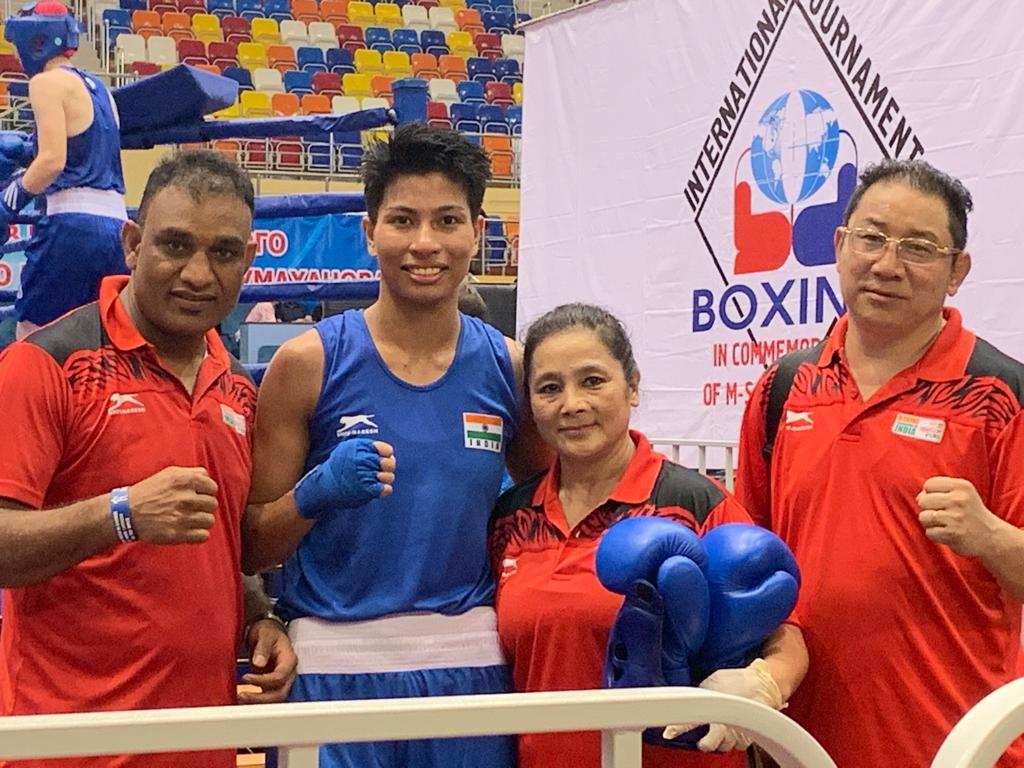 Lovlina along with the Indian Boxing team coaches after her win