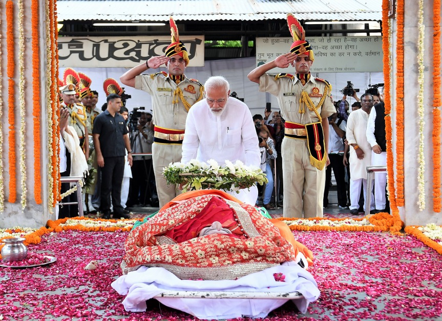 Prime Minister Narendra Modi paying his last respects to former Union Minister Sushma Swaraj at the funeral ceremony in New Delhi on 7 August 2019